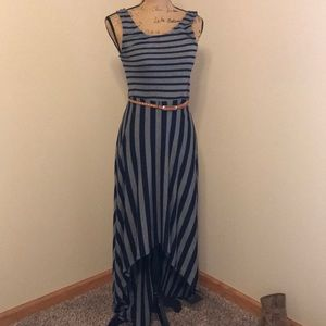High low stripped maxi dress